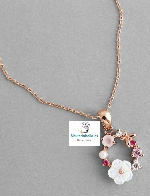Colgante Dorado Rosado Corona de Primavera