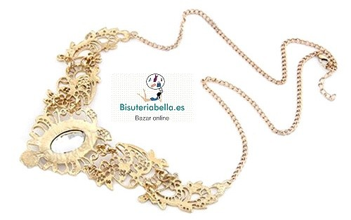 Gargantilllas a elegir Estilo Babero florales doradas piedras
