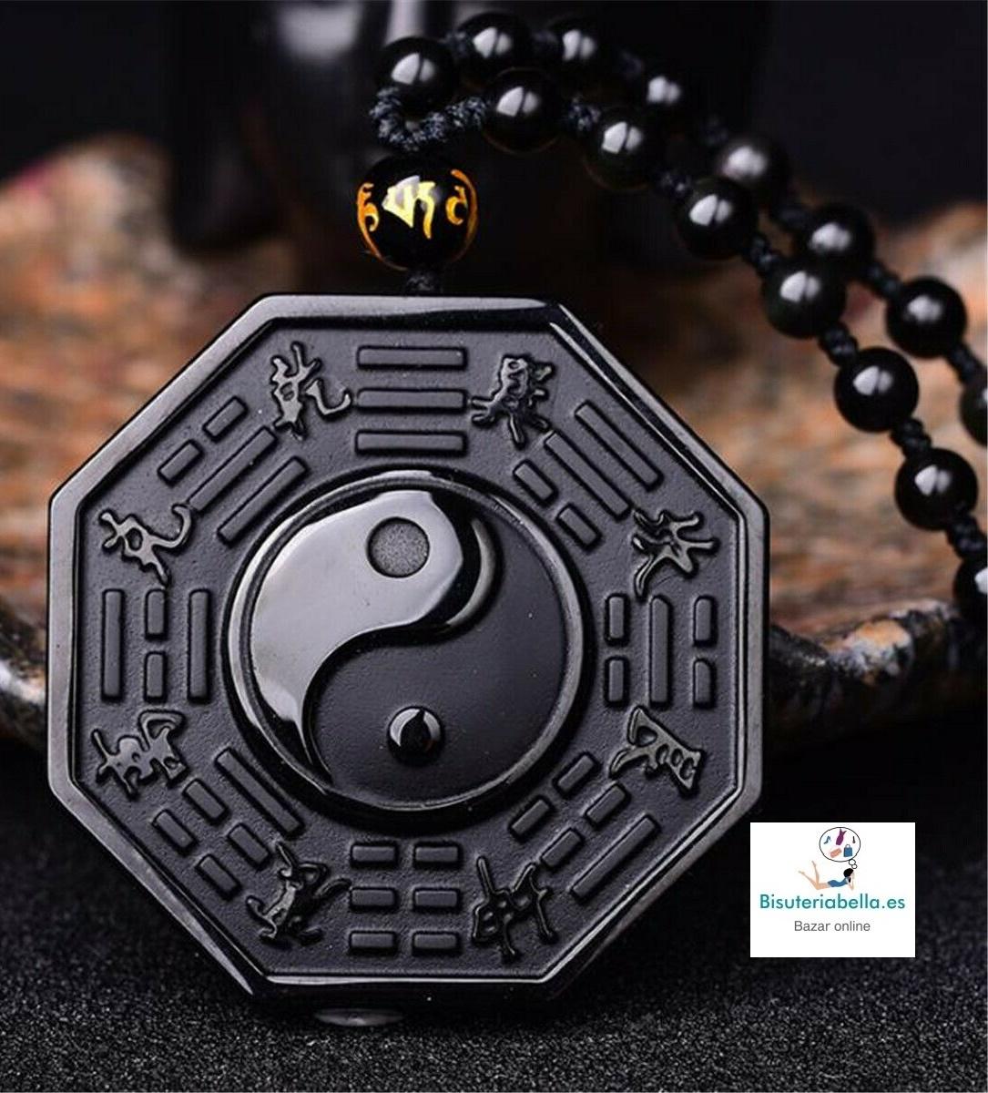 Colgante Yin Yang Ba Gua Piedra Natural Obsidiana