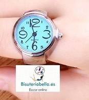 Anillo-Reloj ajustable tonos a elegir plateado T.7-8