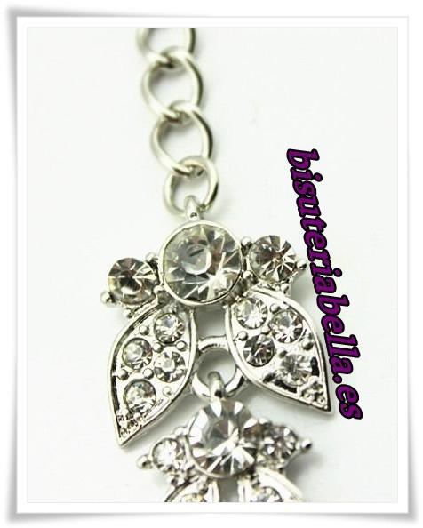 Prendedor doble platado en forma de flor con brillantitos blancos