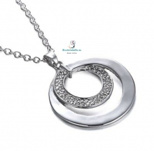 Colgante plateado doble círculo en espiral con brillantitos