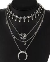 Gargantilla multi-cadenas Luna,floral plateadas