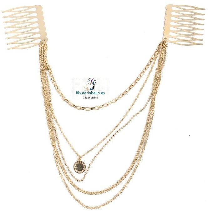Prendedor varias  cadenas ajustable con abalorio dorado fino redondo