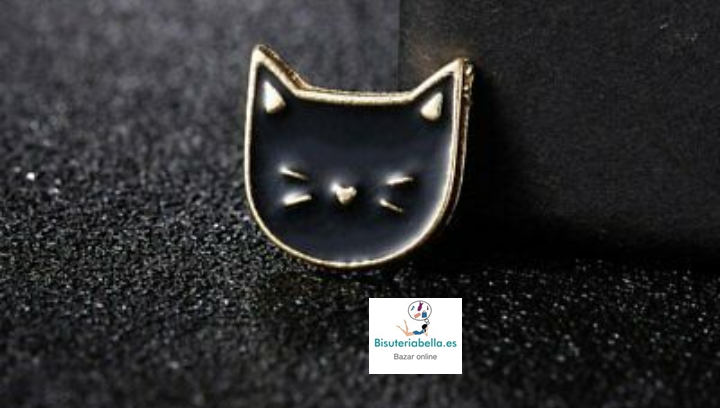 Mini-pin en forma de gato kawaii dorado