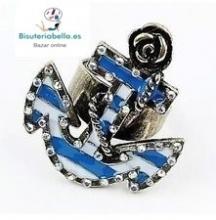 Anillo Ancla Marinera azul ajustable bronce Talla 6(se ajusta hasta la 8)