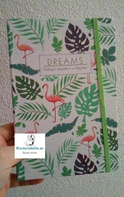 Libreta mediana Flamencos y hojas ''Dreams''