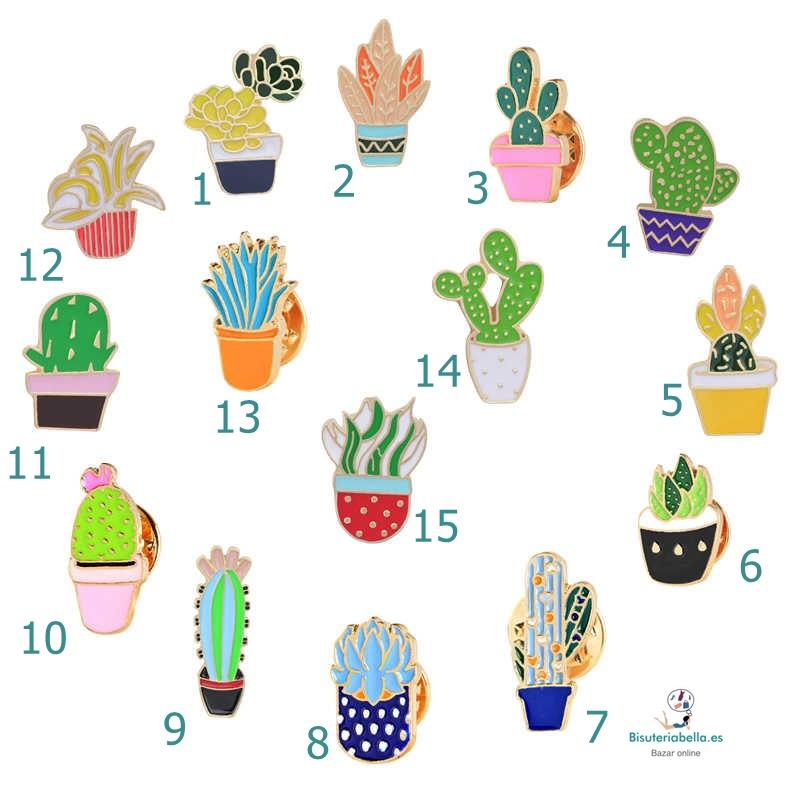 Pins pequeños dorados cactus a elegir
