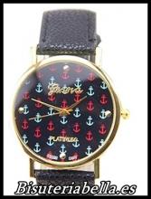 Reloj mujer correa negra imitacion piel esfera marinera anclas colores