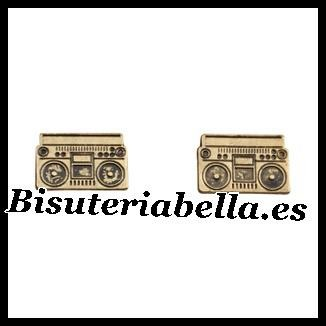 Pendientes pequeños bronce casettes Radio