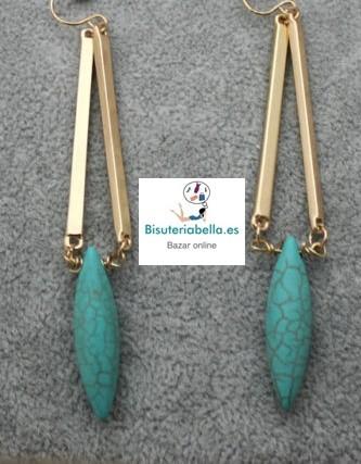 Pendientes Chapados Oro Triangulo y Lagrima Turquesa