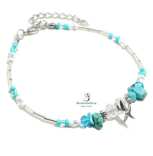 Tobillera plateada con turquesas,detalles y estrella de Mar