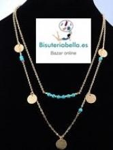 Doble colgante abalorios turquesa y medallitas