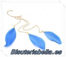 Pendiente a la oreja dorado con plumas largas azules