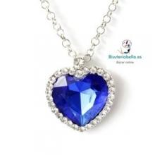 Colgante plateado corazon  grande azul fuerte diamante brillantitos