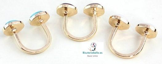 Anillo Chapado en Oro 2 ovalos cuarzo a elegir T.8