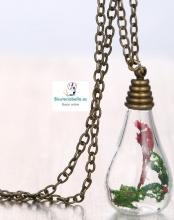 Colgante bronce botella floral rojo y verde dentro