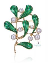 Broche Mediano Dorado Ramas verdes y perlas