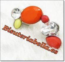 Pendiente con piedras colores amarillos,rosas y anaranjados y blancas
