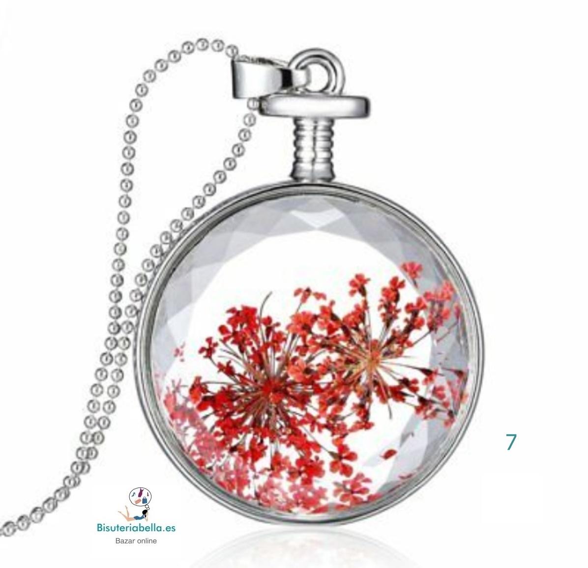 Colgante en forma de botella con flor dentro