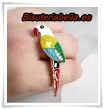 Anillo doble bronce loro colores T.5-6