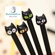 Boligrafo Gato Negro Tonos a elegir color ojos