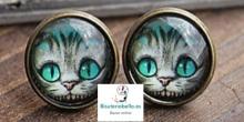 Pendientes bronce redondos pequeños gato alicia pais de las maravillas