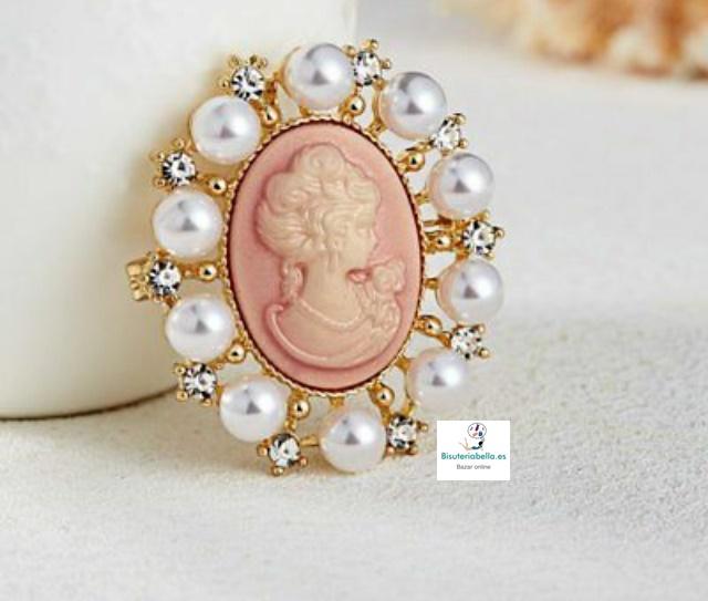 Broche dorado victoriano perlas y camafeo