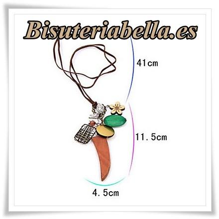 Colgante abalorios con cordon marron a juego *estilo natural*