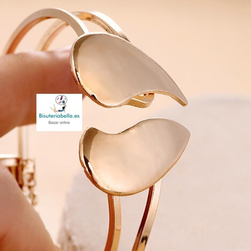 Brazalete doble circular dorado,corazon que se abre
