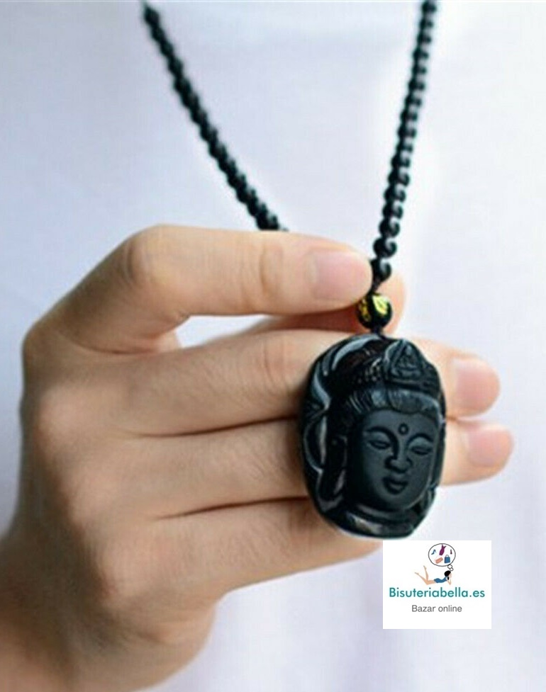 Colgante Cabeza Buda Guanyin Piedra Natural Obsidiana