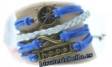 Pulsera 4 en 1 ante azul marino,gris timon&Hope