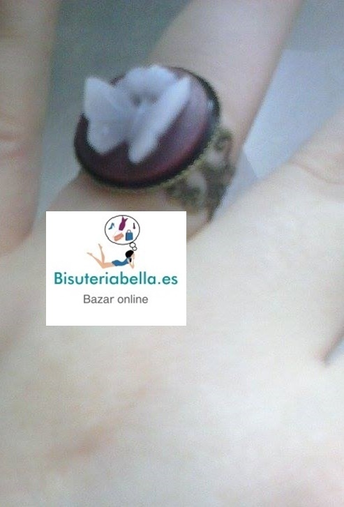 Anillo Camafeo Morado con Mariposa en Bronce
