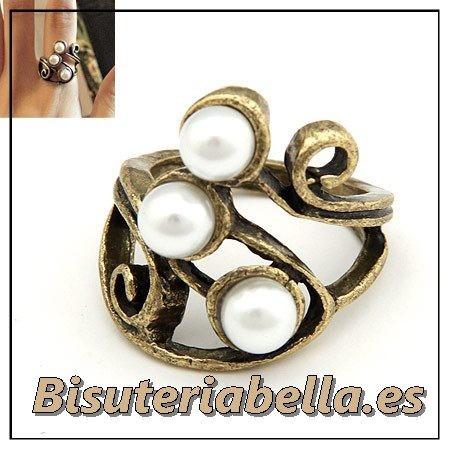 Anillo bronce enroscado con perlas blancas varias filas Talla 6.5