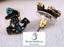Pendientes bronce pequeños ancla marinera azul claro con brillantitos
