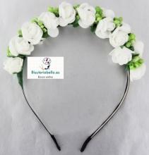 Diadema ajustable recta flores y detalles a elegir