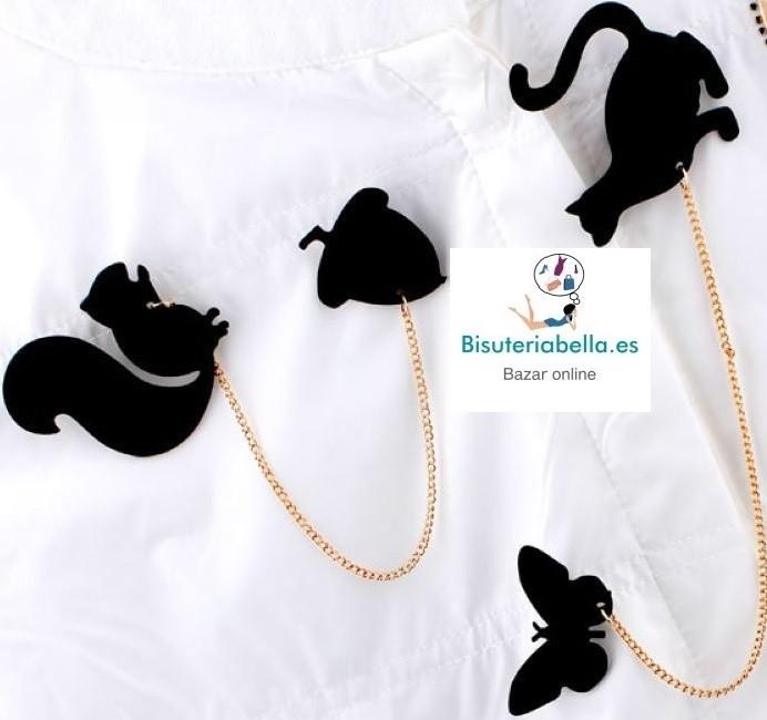 Broche negro doble cadena diferentes a elegir