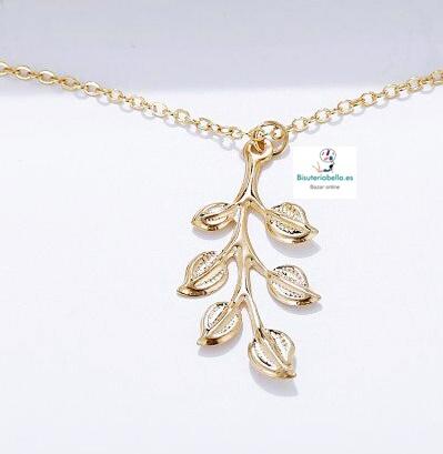 Colgante dorado hojas colgantes pequeñas