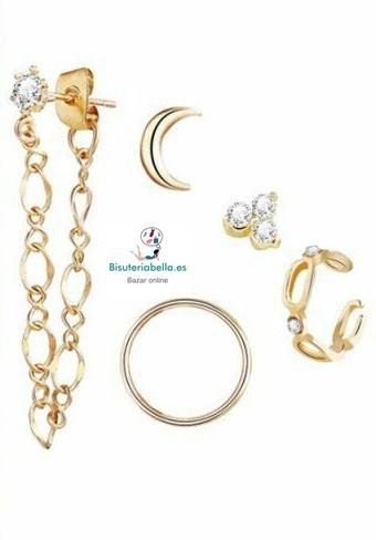 Set 5 Mini- Pendientes Dorados diferentes Luna,Circulo...