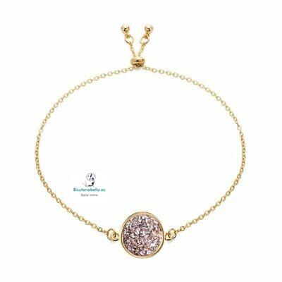 Pulsera dorada con medalla pequeña piedra natural