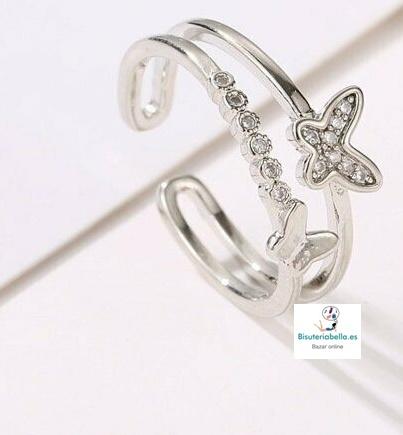 Anillo Chapado Doble Mariposas pequeñas ,abierto T.6