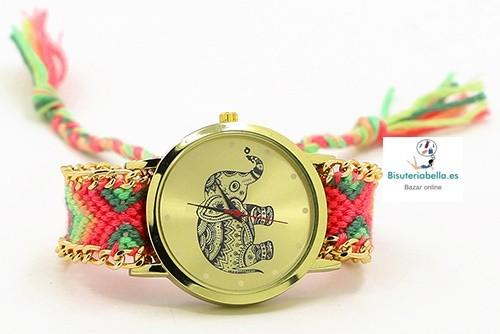 Reloj correa cuerda etnico,esfera elefante dorado a elegir