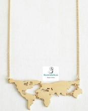 Colgante Chapado en Oro Mapa del Mundo silueta