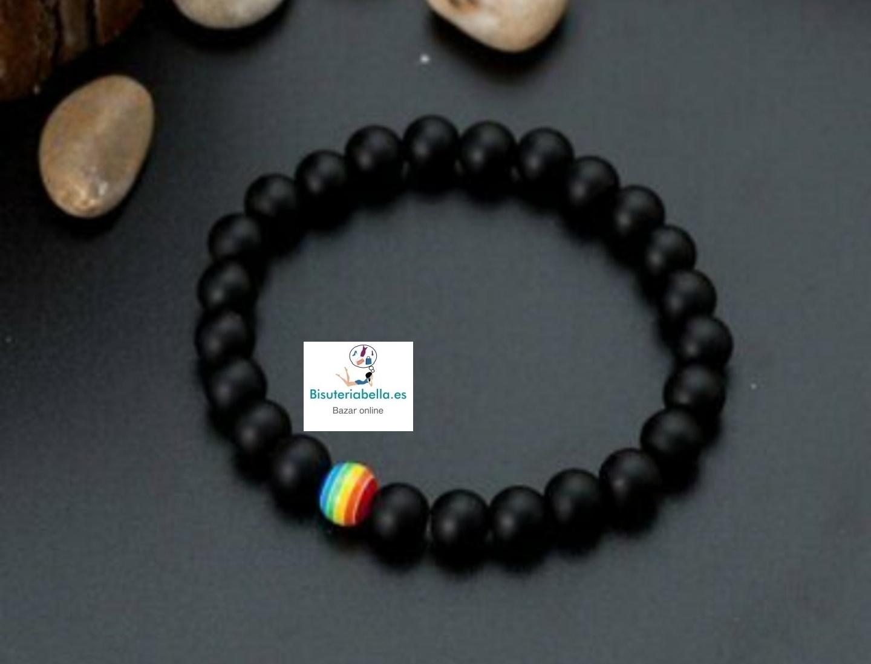 Pulsera bolitas negras elástica LGTB