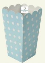 Set 3 Cajas para Palomitas de papel azules topos blancos