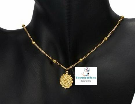 Colgante dorado Medalla ondulada Simbolos Zodiaco a elegir