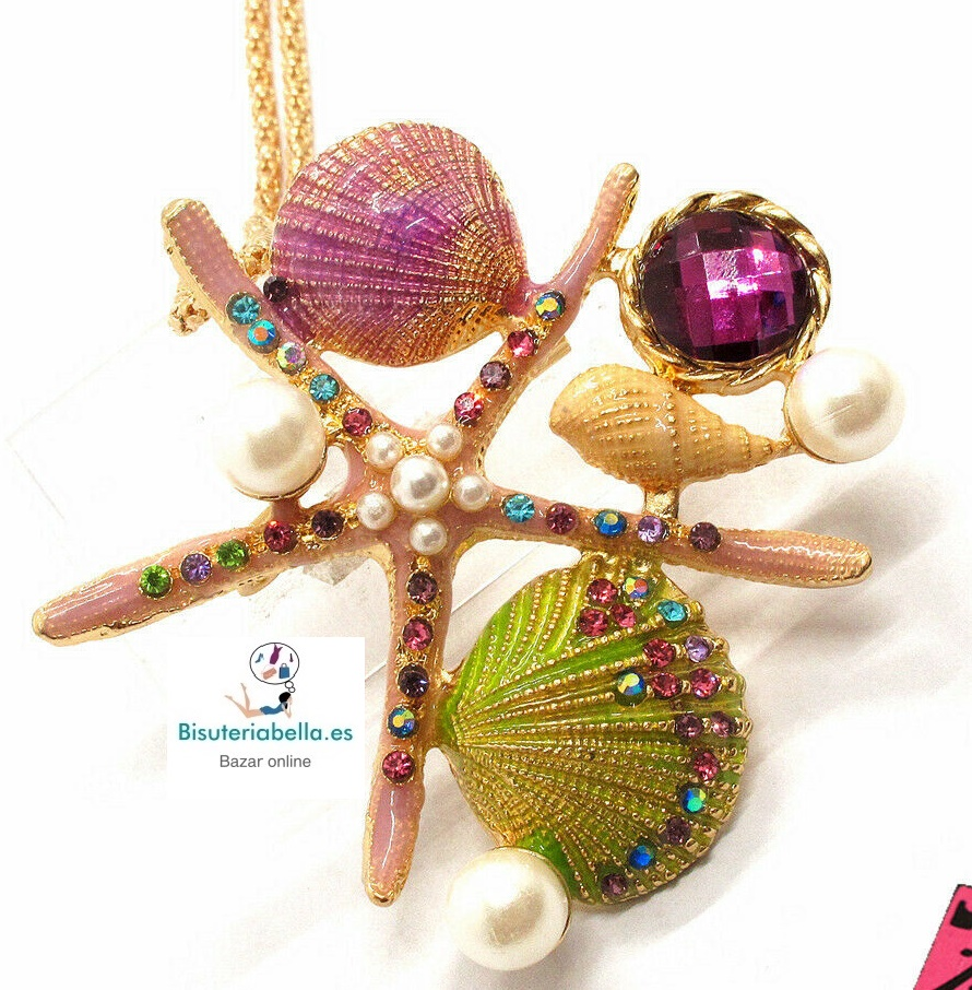 Colgante dorado Estrella Mar grande,conchas,perlas...