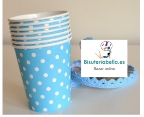 Set 4 Vasos carton azules con Topitos blancos