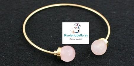 Pulsera Chapada en Oro Cuarzo a elegir bolitas abierta
