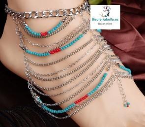 Tobillera plateada cadenas y abalorios azules y rojos